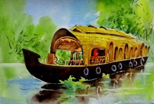 Kerala House Boat Art 11 by Sumit Datta