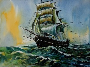 Old Ship Classics 1  Painting By Sumit Datta by Sumit Datta
