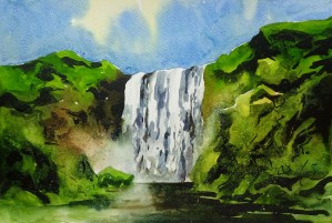 Waterfalls Painting 10   2018 by Sumit Datta