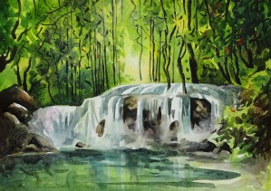 Waterfalls Painting 11   2018 by Sumit Datta