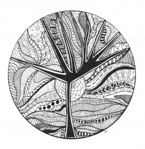 Black and white tree circle by Susan Watson