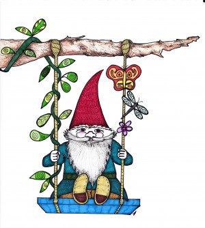 Gnome on a Swing by Susan Watson