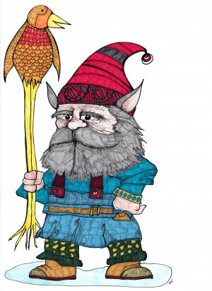 Gnome with Bird by Susan Watson