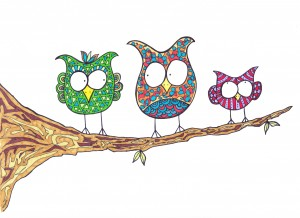 Owls on a Branch by Susan Watson
