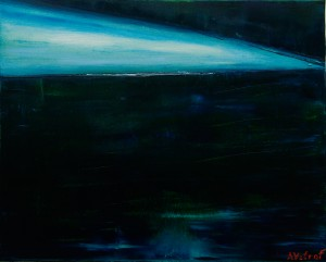 Neon in dawn. 2014 oil on canvas 45x55 cm by Vetrof Alik