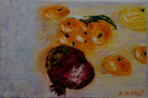 Tangerines with 1. 2014 grenade painter Alik Vetrof MDF Oil on canvas 20x30 cm by Vetrof Alik