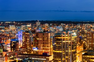 Shoot from above the beautiful night in metropolis by Viktor Birkus