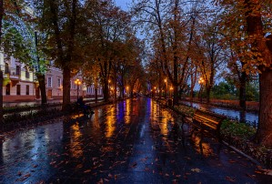 Autumn Evening at the Promenade in Odessa by Viktor Birkus