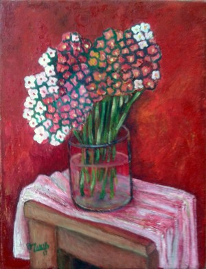 20.Spring flowers 2017year oil on canvas 45x35 cm1500$ by ZAKIR AHMEDOV