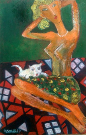 39..Girl and cat 2017year 45x30cmOriginal Painting Oil on Canvas2500$ by ZAKIR AHMEDOV