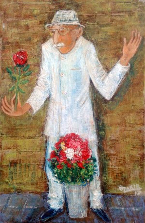 41Flower seller2017year 45x30cmOriginal Painting Oil on Canvas2500$ by ZAKIR AHMEDOV