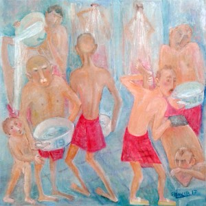 46.Turkish bath 2017year 40x40cm Original Painting Oil on Canvas2500$ by ZAKIR AHMEDOV