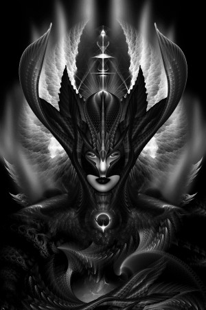 Taidushan Sai The Talons Of Time Black Sun Fractal Art Portrait by xzendor7