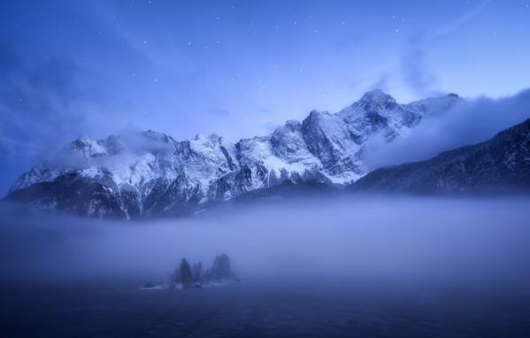 Misty Winter Evening Canvas Print
