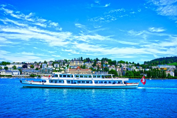 Cruise Boat On Lake Lucerne with City in Background in Switzerland Digital Download
