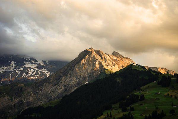Mountain Bathed in the Golden Rays of the Sun at Sunset in Switzerland 1 of 3 Digital Download