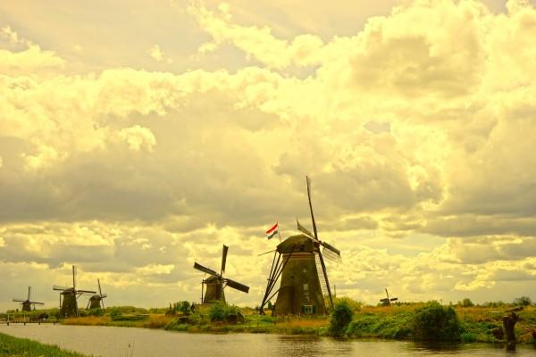 Windmills at Sunset - Netherlands Digital Download
