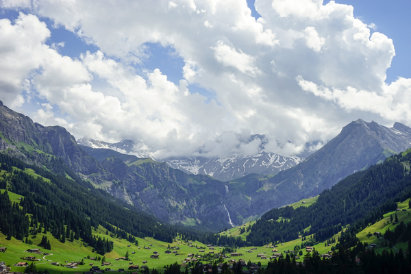 Beautiful Day in the Valley and Mountains of Adelboden Switzerland Digital Download