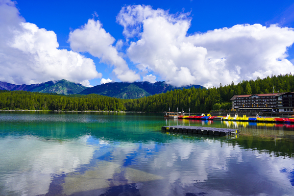 Brilliant Blue Skies over Lake Eibsee with Friederalm and Enningalm of the southern Ammergauer Alps in the Background Digital Download