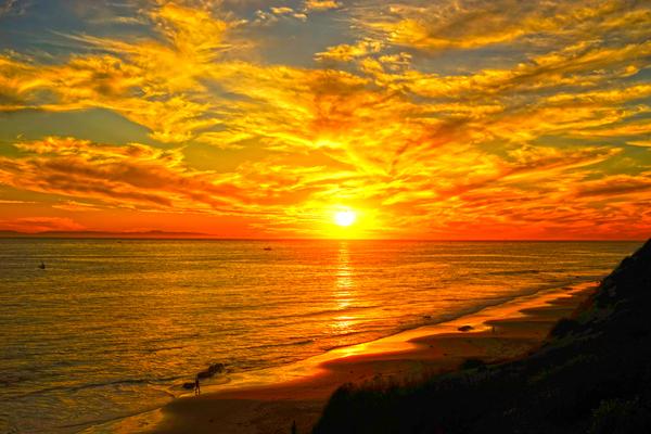 Sunset over Catalina Island in Newport Beach California Digital Download
