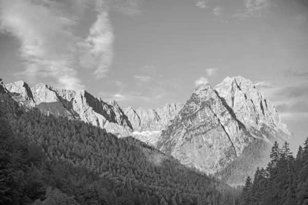 Black and White The mountains of the Wetterstein in the Bavarian Alps Bathed in Morning Light by 360 Studios