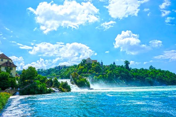 Brilliant Blue Skies over Rhine Falls Switzerland   High Rhine Schaffhausen und Zurich - Waterfall  by 360 Studios