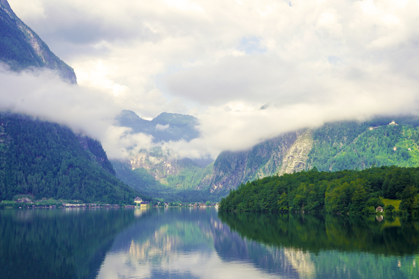 Morning Light and Shadows Dance Lake Hallstatt in the Salzkammergut UNESCO World Heritage Site by 360 Studios