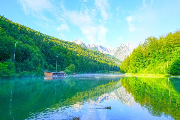 Morning Reflections on the Riessersee in the Bavarian Alps near Garmisch Partenkirchen Germany by 360 Studios