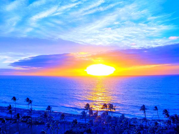 Rainbow Sunset in the Tropics   Hawaii Digital Download
