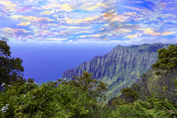 Sunset at Puu O Kila Lookout Kohala Mountains on the Island of Kauai in Hawaii Digital Download