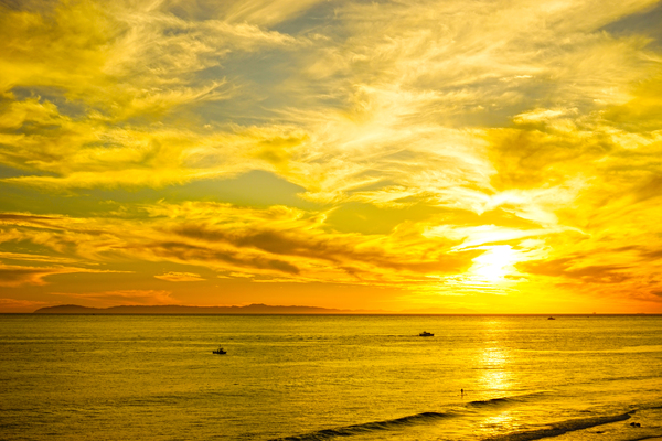 Sunset over Catalina Island in Newport Beach California by 360 Studios