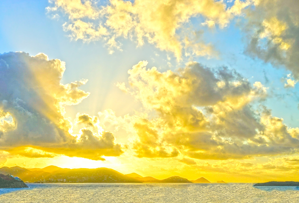 Sunset over Saint John in the Caribbean Islands by 360 Studios