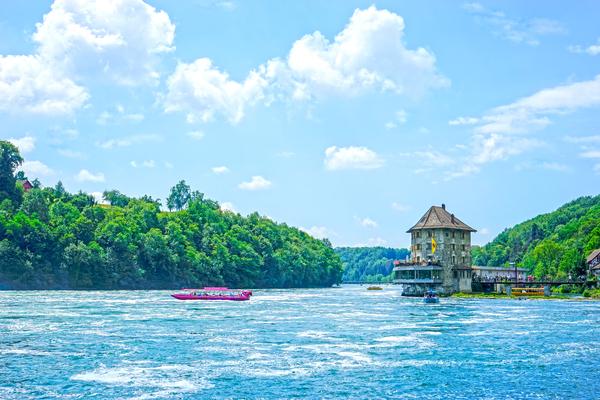 Think Pink 2 of 2   Rhine Falls Switzerland   High Rhine Schaffhausen und Zurich - Waterfall  by 360 Studios