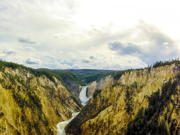 Vintage Sunset at the Upper Falls in the Yellowstone by 360 Studios