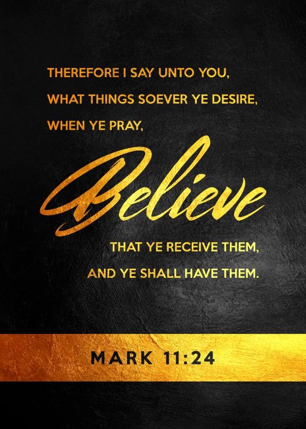 Mark 11:24 Bible Verse Wall Art Digital Download