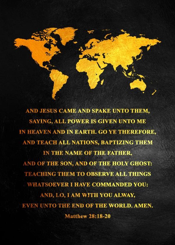 Matthew 28:18-20 Bible Verse Wall Art Digital Download
