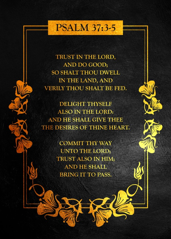 Psalm 37:3- 5 Bible Verse Wall Art Digital Download