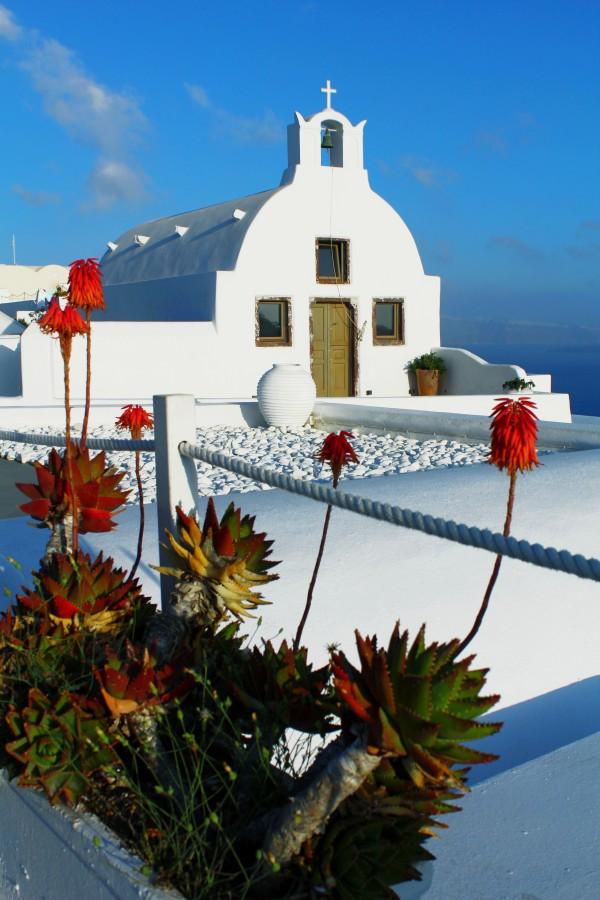 Santorini - White Little Church portrait  by Bentivoglio Photography