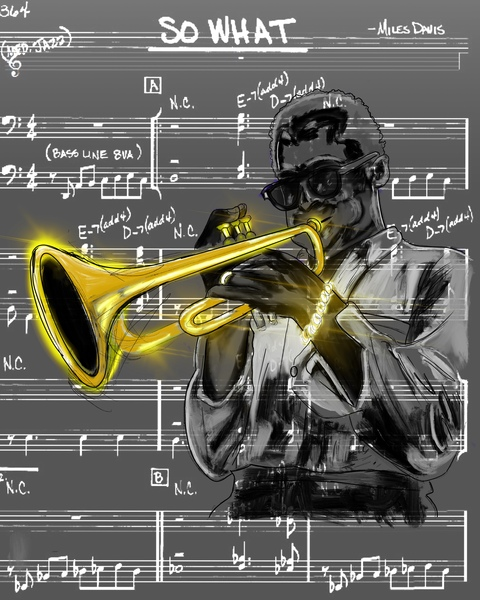 So what Miles Davis grayscale by Alonza Lawson