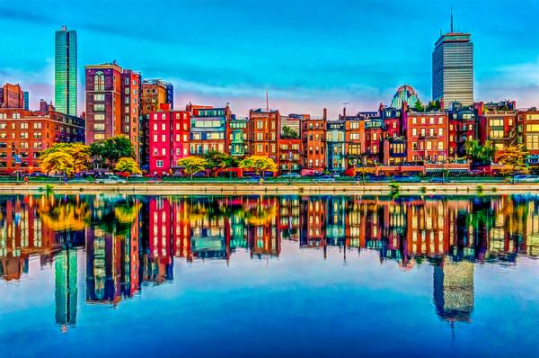 Boston Back Bay reflection Digital Download
