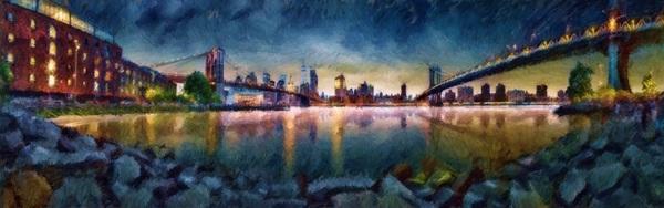 Brooklyn Cove Panorama Painting  Digital Download