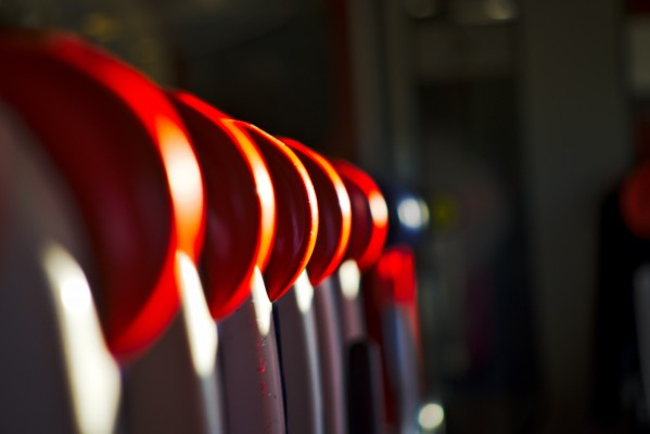 Seats on an empty train by Anthony M Farber