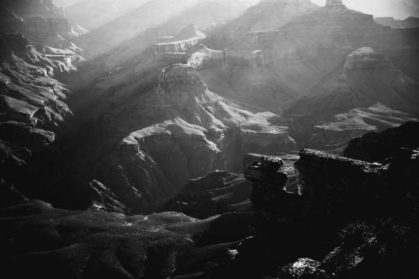 Grand Canyon South Rim Sunrise Black and White by Anthony M Farber