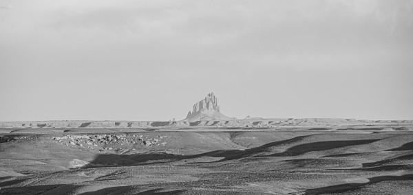 Shiprock Desert Scene B&W 2 by Anthony M Farber