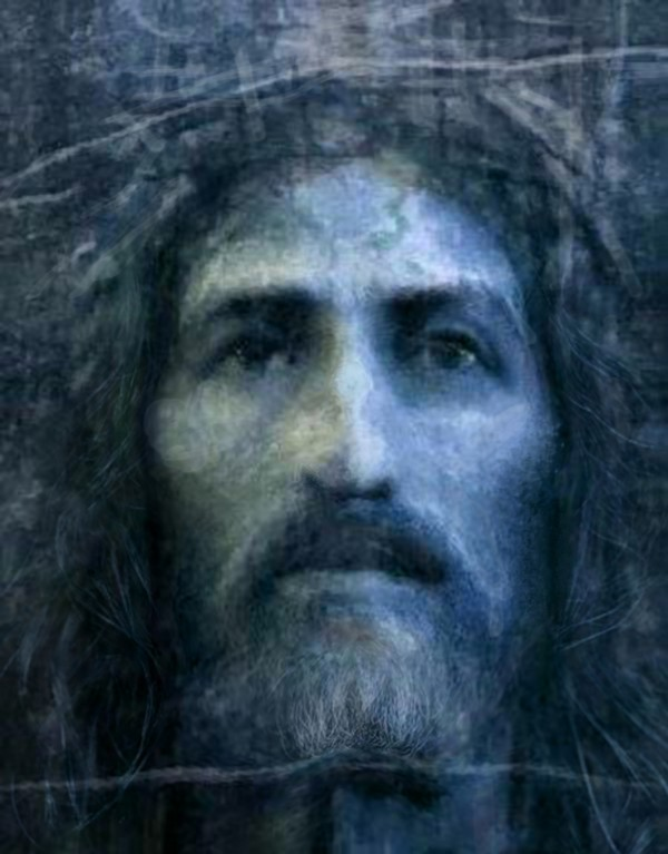 Christ face reconstruction blue by ArtofCaelia