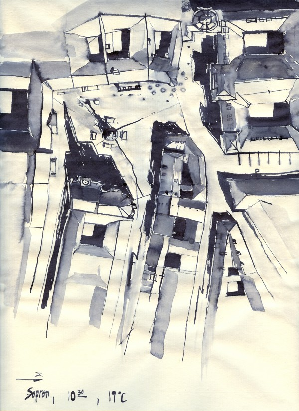 Architectural view in birdeye Indian ink by ArtofCaelia