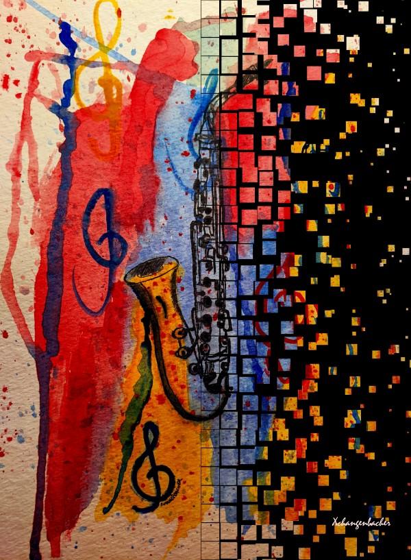 Saxophone Escaping by Aurelia Schanzenbacher Sisters Fine Arts