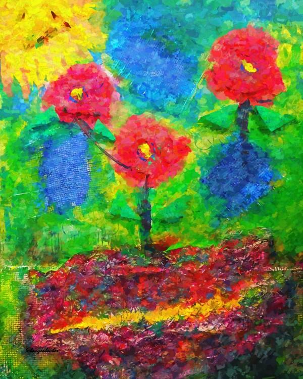 Dancing Flowers  by Aurelia Schanzenbacher Sisters Fine Arts