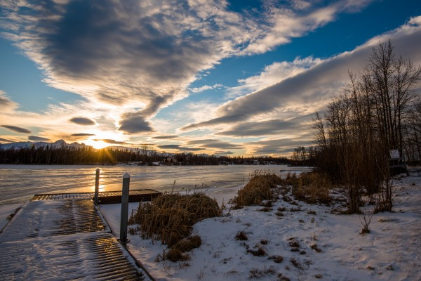Frozen Lake Sunrise by Aurelio Matthew Leal