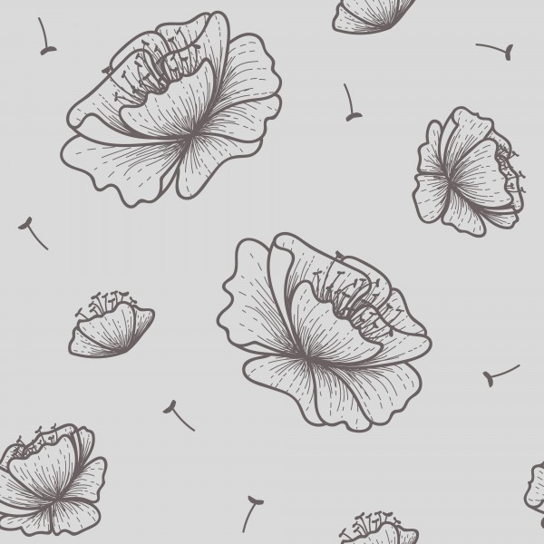 Beautiful outlined flowers seamless pattern by Ayesha Khan